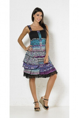 Dress gypsy bohemian colorful, lined in cotton voile lightweight