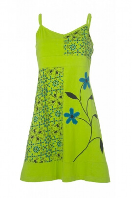 Dress in cotton jersey with a colorful, ethnic and original, inspiration hippie chic