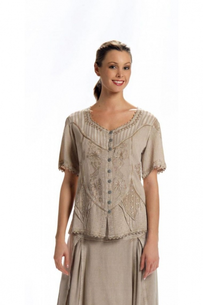 Blouse embroidered romantic and original, pearly buttons, style boho chic