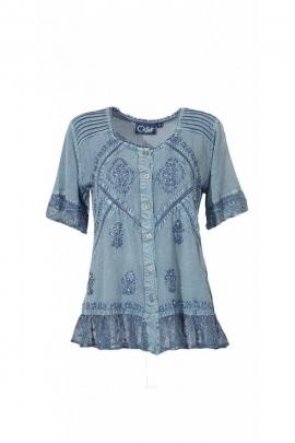 Blusa original, bordado, y la piedra de lavar, romántica, con encaje