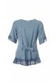 Blouse original, embroidered, and stone wash, romantic with lace