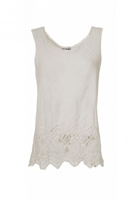 Débardeur léger en coton, tissu macramé blanc, bordure en crochet ajouré