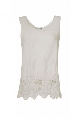 Tank top lightweight cotton fabric macrame white, border in crochet openwork