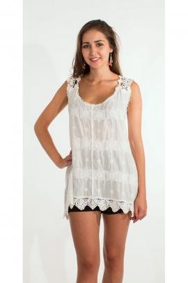 Débardeur long romantique, bordure en crochet, tissu macramé blanc en coton