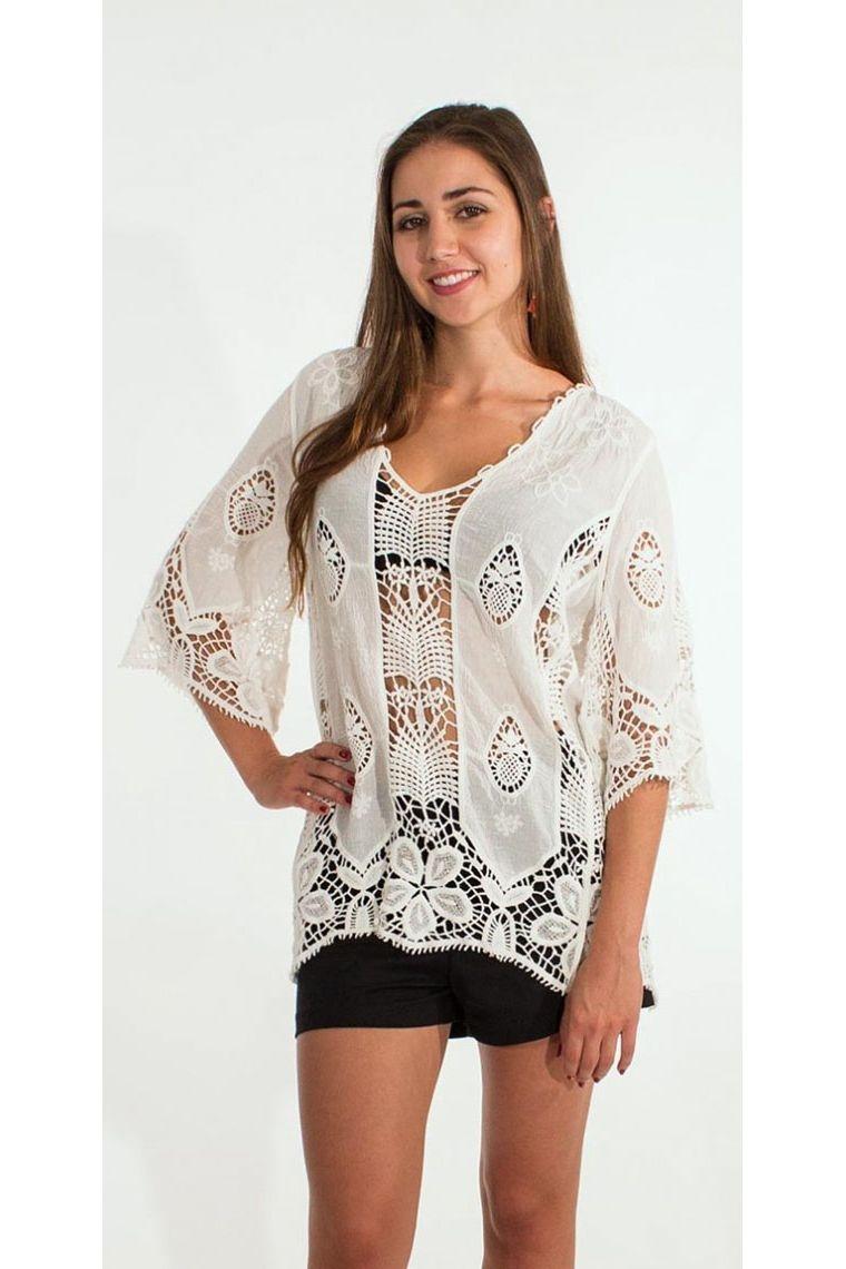 Blusa romántica sleeves¾, crochet calados, tejido de macramé de algodón blanco