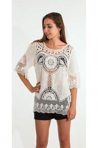 Blouse original and embroidered, ¾ sleeve, hook-and-fabric macrame white cotton