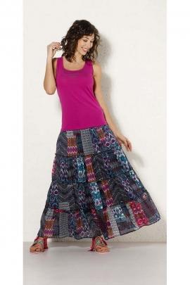 Jupe longue indienne vaporeuse, volants superposés, patchwork entièrement doublé