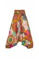 Harem pants 3-in-1 cotton, printed roses, original clothing indian