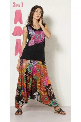 Pantalones Harem, 3-en-1 de algodón, impreso rosas, ropa original de la india