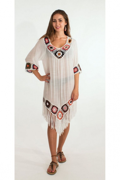 Poncho beach in short sleeves, crochet macramé original, colorful pattern