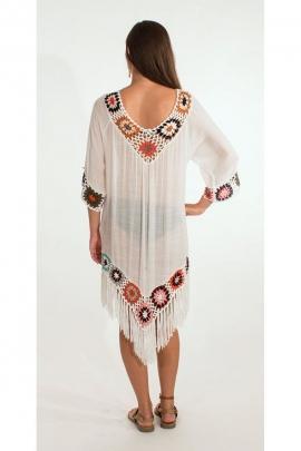 Poncho de plage à manches courtes, crochet macramé original, motif coloré