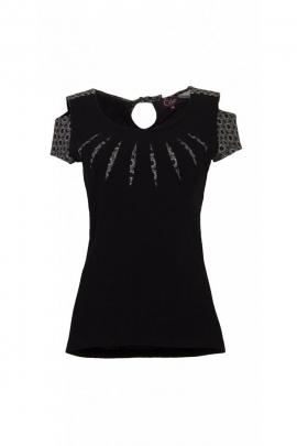 Tee-shirt original décontracté, collier soleil, en coton extensible