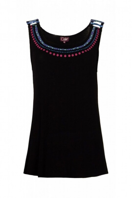 T-shirt original, colorful, wide collar pattern necklace ethnic