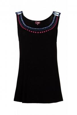 Tee-shirt original coloré, large col à motif collier ethnique