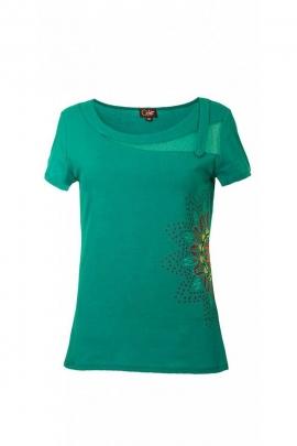 Tee-shirt ethnique original, manches courtes, avec rosace florale et empiècement en dentelle