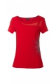 T-shirt ethnic original, short-sleeved, with rosette and floral yoke lace