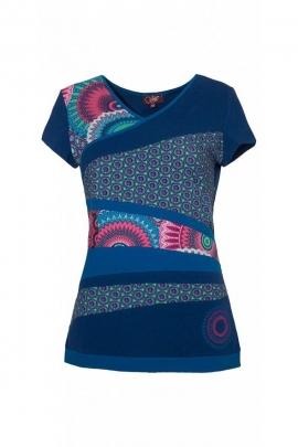 Tee-shirt en coton col V, patchwork original, manches courtes