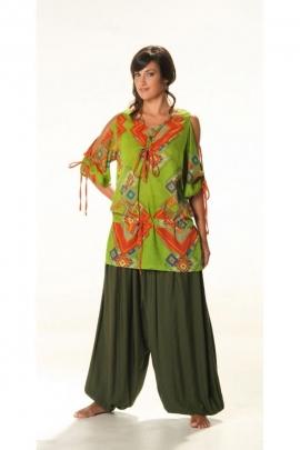 Tunique hippie chic de fabrication indienne en voile de coton, manches ¾ ouvertes