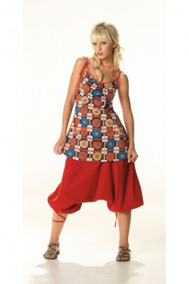 Tunic seventy's of making indian, strapless lace-up and printed colored tiles