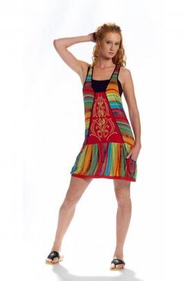 Tunique ethnique décontractée, mi-longue, style hippie chic original