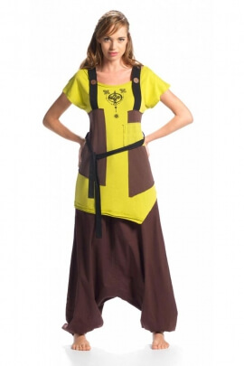 Tunic asymmetrical light and bohemian, two-tone, very original