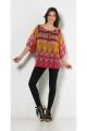 Tunic bohemian casual, printed, ethnic, colorful, 3/4 sleeve