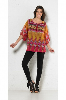 Tunic bohemian casual, printed, ethnic, colorful, 3/4 sleeve