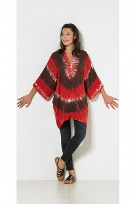 Wide tunic casual, viscose, printed, tie-dye original