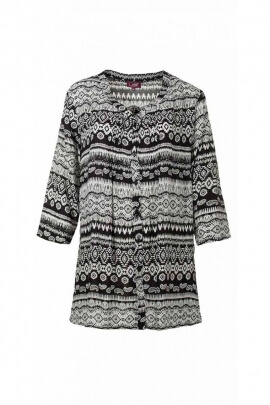 Tunic buttoned hippie chic, ¾ sleeve, printed black-and-white original