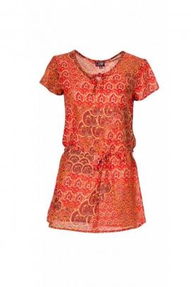 Tunique en coton d'importation indienne, manches courtes, imprimé exotique