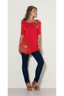 Pretty tunic ethnic, colorful, casual, asymmetrical, patterned mandalas
