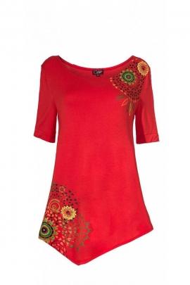 Jolie tunique ethnique, colorée et décontractée, asymétrique, motifs mandalas