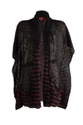 Veste longue châle poches acrylique polyester