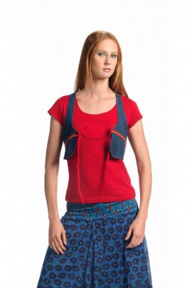 Vest holster hippie chic in jeans, wear with a high ethnic