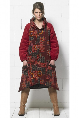 Chic hippie cotton velvet lined polyester coat