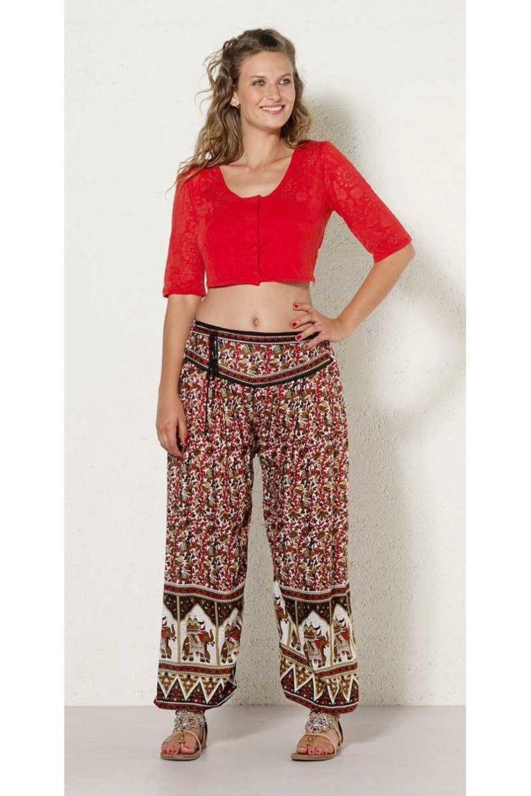 Bolero cardigan hippie chic, buttoned, short with mesh devoured
