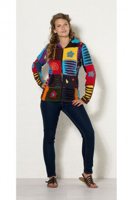 Jacket babos, patchwork, multi-colored, offbeat and original