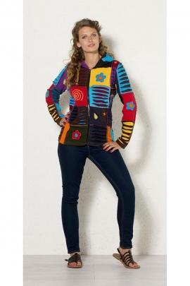 Veste babos, patchwork multicolore, décalée et originale