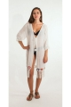 Jacket bohemian original-long beach, fringes, and links in pom-poms
