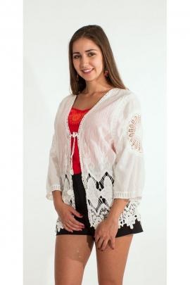 Veste gilet hippie chic en coton, brodée et romantique, style bohème