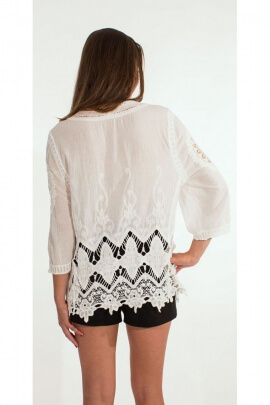 Jacket vest hippie chic cotton embroidered and romantic, bohemian-style