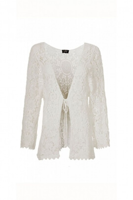 Jacket boho chic crochet lace up tie at the front, for a look that's quirky
