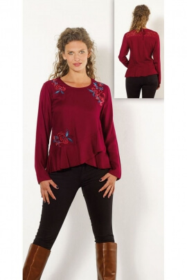 Blouse for the winter, the long sleeves and printed small flowers, boho chic