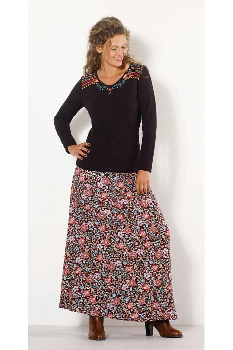 jupe longue boh me et hippie chic sp ciale automne hiver petites fleurs color es