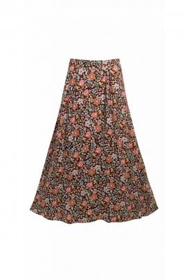 Jupe longue bohème et romantique à petites fleurs, pour l'automne et l'hiver