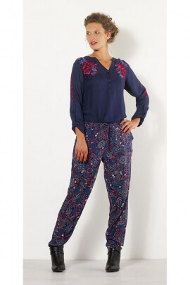 Pants casual trend winter, cut right, printed Jaipur colorful