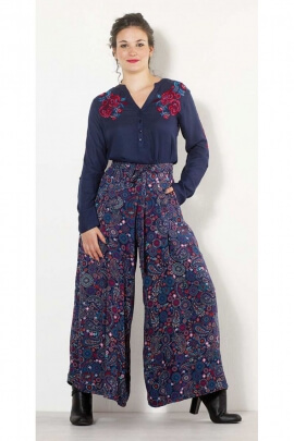 Pants oversize style palazzo, viscose, printed, indian ethnic