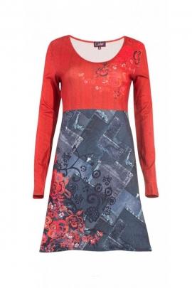 Robe originale multicolore, effet trompe-l'œil, pour la mi-saison