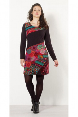 Dress stylish with colorful pieces in patchwork, asymmetrical