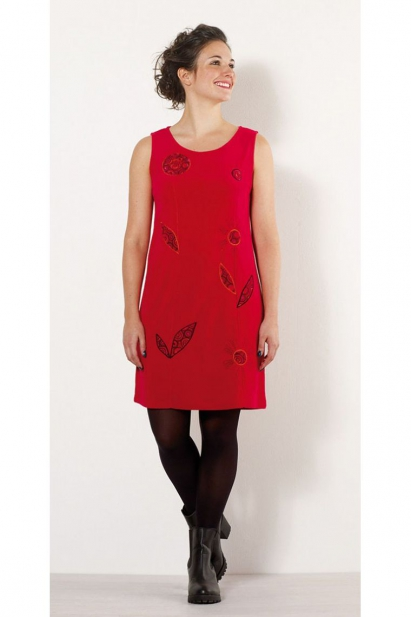 Dress in soft velvet for the winter, very original and colorful, sleeveless